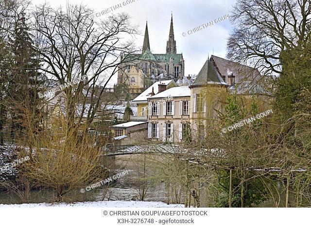 bords de la riviere Eure avec la cathedrale en arriere-plan, Chartres, departement d'Eure-et-Loir, region Centre-Val de Loire, France