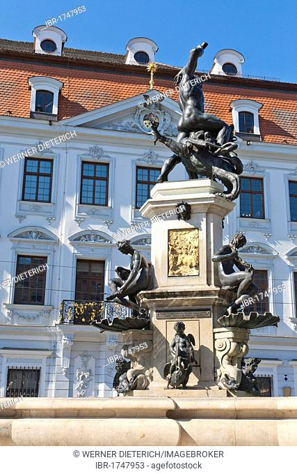 Hercules Fountain in front of Schaetzlerpalais, City Palace, Maximilianstrasse, Augsburg, Bavaria, Germany, Europe