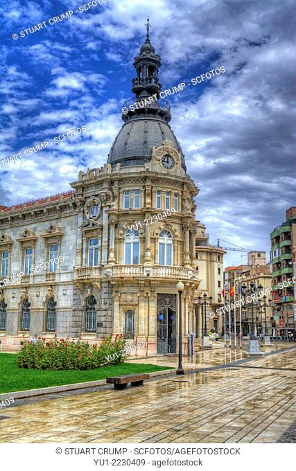 HDR of the City Hall in the city of Cartagena, Region of Murcia, South Eastern Spain