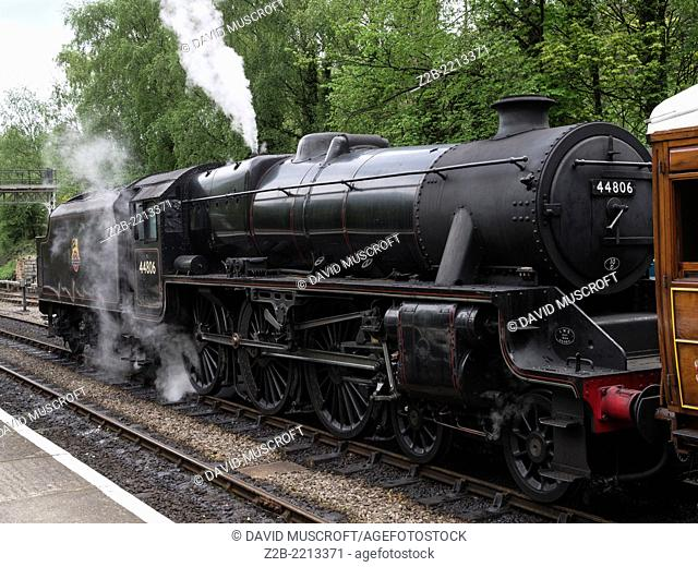 Vintage steam engine locomotive, North Yorkshire Moors Railway, on the North Yorkshire Moors, Yorkshire, UK