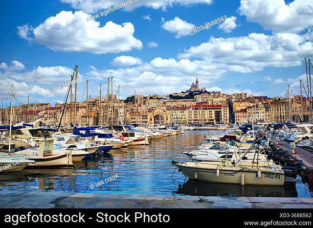 old port with Notre-Dame de la Garde Basilica, Marseille, France