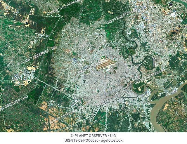 Colour satellite image of Ho-Chi-Minh City, Vietnam. Image taken on January 21, 2014 with Landsat 8 data