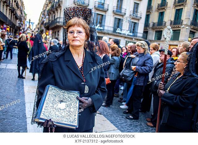 Mantillas in procession, sisterhood of Virgen de las Angustias,Good Friday, Easter week,plaza Sant Jaume,Barcelona, Catalonia, Spain