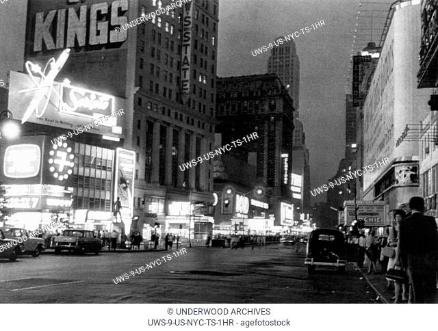 New York, New York: June 13, 1961. New York City's Great White Way is only half lighted in this view of Broadway during a massive power outage in midtown...