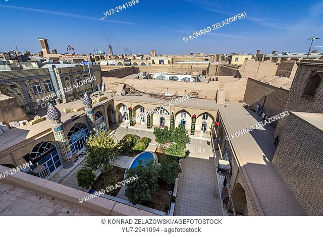 Theological seminary seen from the roof of Khan bazaar in Mosalla quarter of Yazd, capital of Yazd Province of Iran