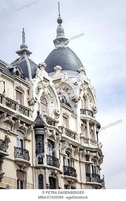 House facade, Madrid, Spain, urban architecture, close-up