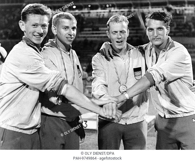 Gold medal winners of the German sprinter relay of the Olympic Games in 1960 (l-r) Bernd Cullmann, Armin Hary, Walter Mahlendorf and Martin Lauer