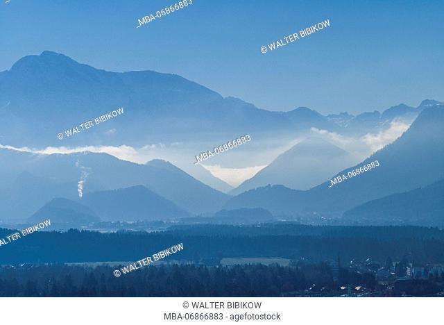 Austria, Salzburgerland, Salzburg, elevated view towards the German Alps, winter