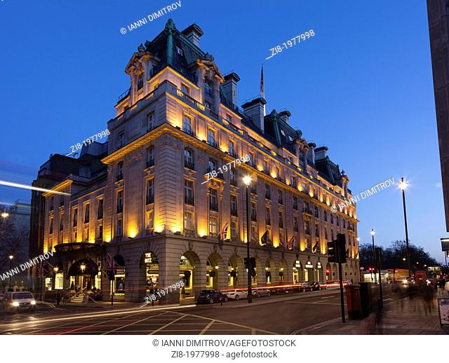 The Ritz Hotel at night,Piccadilly,London,England