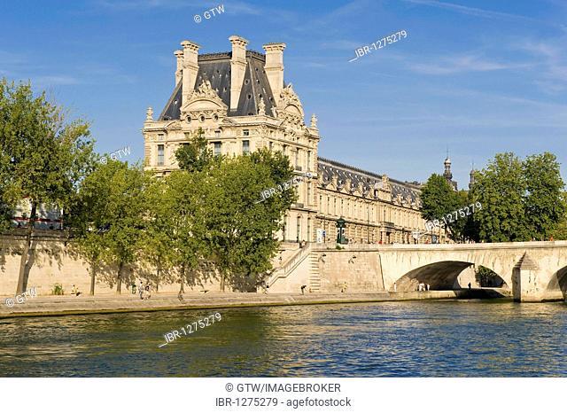 Louvre Museum, Pavilion de Flore and Pont Royal, Paris, France, Europe