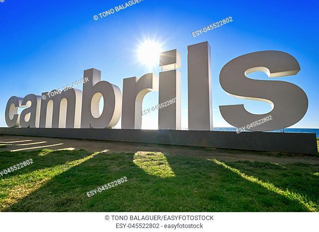 Cambrils welcome road sign in Tarragona at Costa Daurada of Catalonia