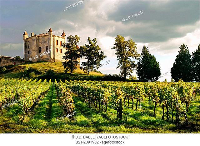 """France. Aquitaine. Gironde. Medieval castle of Chateau Monbadon, at Puisseguin, in the """"Cotes de Bordeaux"""" area od the Bordeaux wines district"""