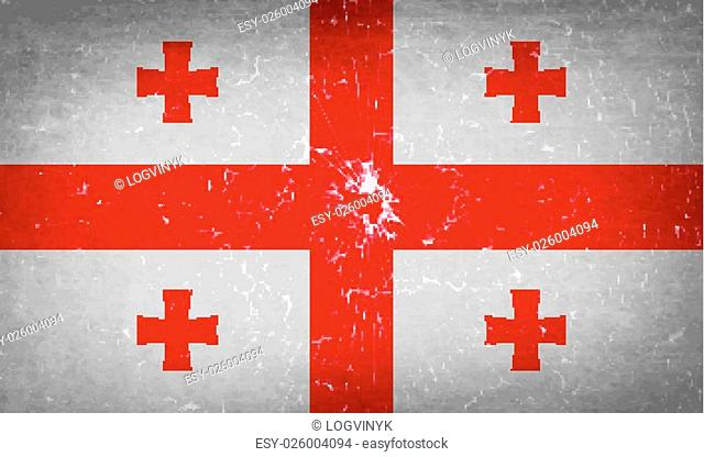 Flags of Georgia with broken glass texture. Vector illustration