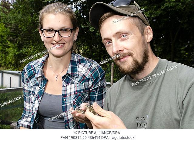09 August 2019, Schleswig-Holstein, Kiel: The reptile breeders Inken Schmersow (l) and Patrick Pohlmann from the Gesellschaft für Freilandökologie und...