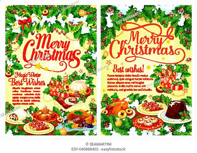 Christmas party festive dinner greeting card with Xmas tree and holly garland. Turkey or chicken, fruit cake and mulled wine, cookie