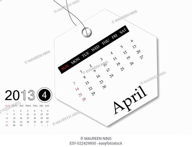 April of 2013 calendar for tag design
