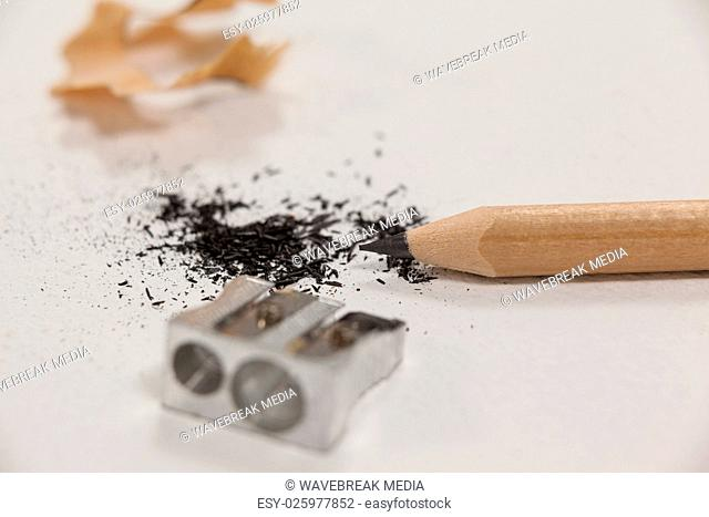 Close-up of sharpener and pencil