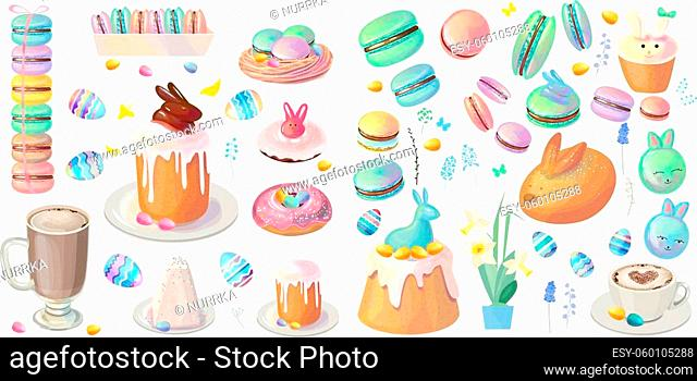 Big set with festive desserts for Easter. Cakes, painted eggs and spring traditional sweets isolated on white. Blue and green color
