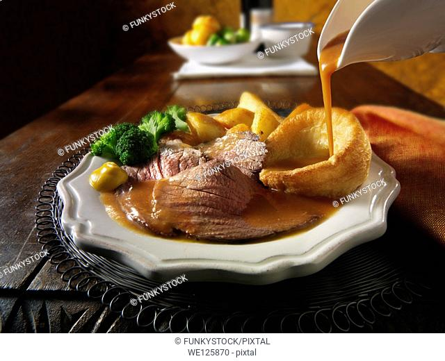 Roast beef Yorkshire pudding and gravy