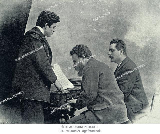 Pietro Mascagni (Livorno, 1863-Rome, 1945), Leopoldo Franchetti (Livorno, 1847-Rome, 1917) and Giacomo Puccini (Lucca, 1858-Brussels, 1924), Italian composers
