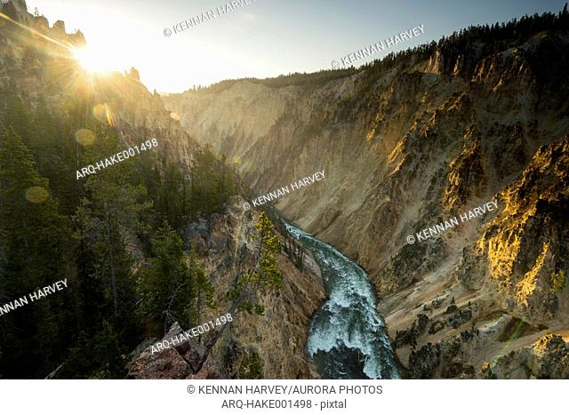 Scenic landscape with view of the Snake River Canyon below the Lower Yellowstone Falls, Yellowstone National Park, Wyoming, USA