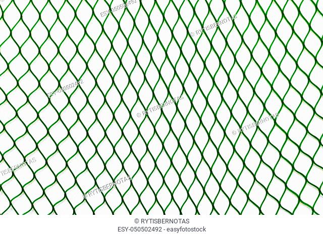 Green net placed vertically on the white soft background surface