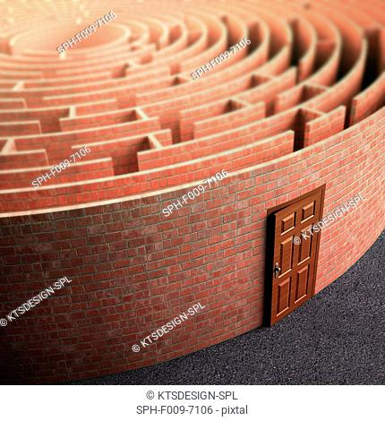 Labyrinth with a door, conceptual artwork