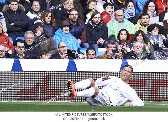 Cristiano Ronaldo (forward; Real Madrid) in action during La Liga match between Real Madrid and Celta de Vigo at Santiago Bernabeu on March 5, 2016 in Madrid