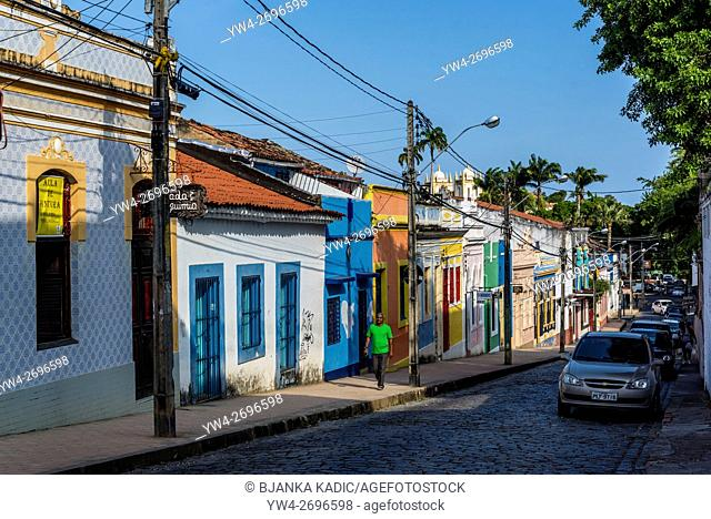 Brightly painted houses, Olinda, Pernambuco, Brazil