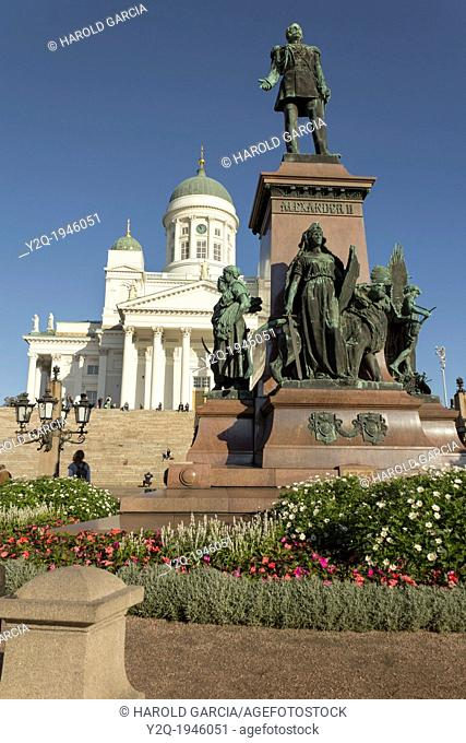 Monument to the Russian tsar Alexander II against the Cathedral in Helsinki, Finland, Europe