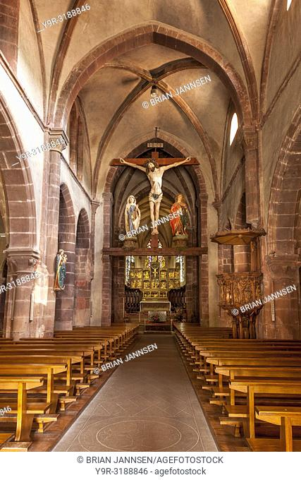Interior of Eglise Sainte-Croix Kaysersberg, Kaysersberg-Vignoble, Alsace, France