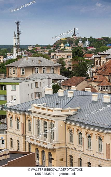 Romania, Danube River Delta, Tulcea, elevated city view