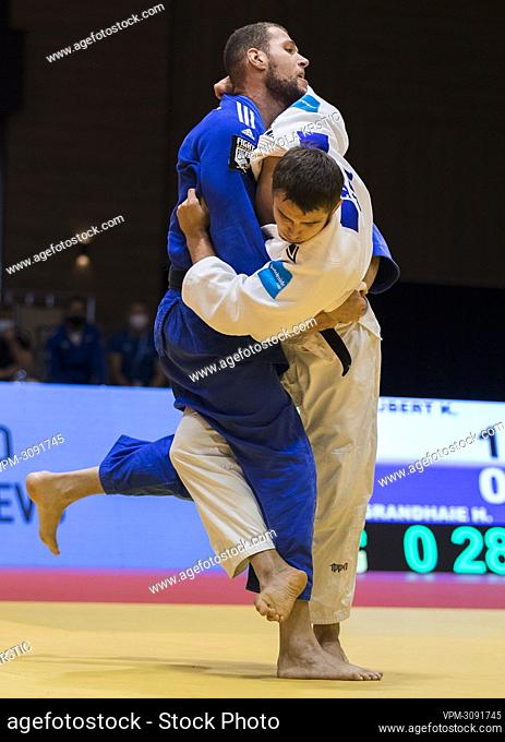 Belgian Karel Foubert (white outfit) pictured in action in a fight in the men -90kg category at the European Judo Open in Sarajevo, Bosnia and Herzegovina