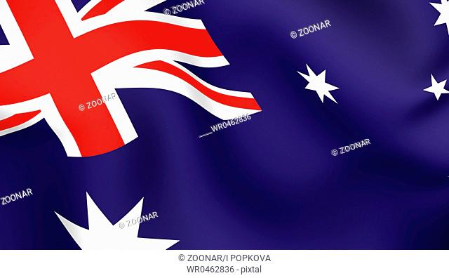 Flag of Australia. Close-up. Front view