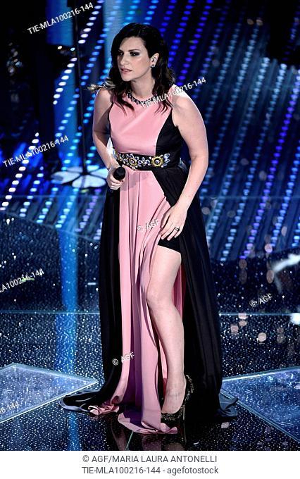 Laura Pausini during the 66th Sanremo Festival, Sanremo, Italy 09/02/2016