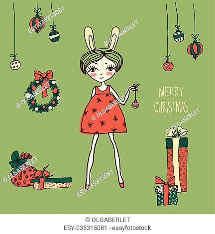 435709e98ef7c Cute Christmas card Bright holiday background with small funny angel in New  Year toys in cartoon