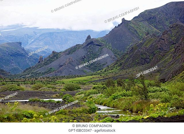 ENTRANCE TO THE THORSMORK VALLEY NEAR THE VOLCANO EYJAFJALLAJOKULL FOLLOWING THE ERUPTIONS ON MARCH 20 AND APRIL 14, 2010 THAT REQUIRED THE EVACUATION OF 800...