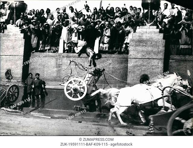 Nov. 11, 1959 - New Version of 'Ben Hur' shown in World Premiere in New York: A new version of 'Ben Hur', a film which was in preparation for ten years and cost...