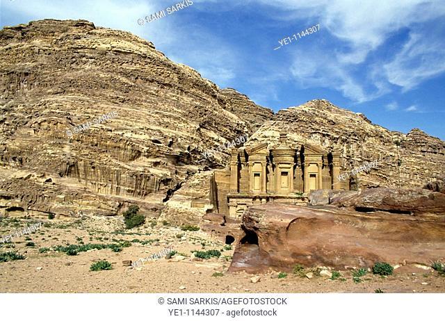 Facade of Ad Deir, an ancient rock-cut monastery in Petra, Jordan