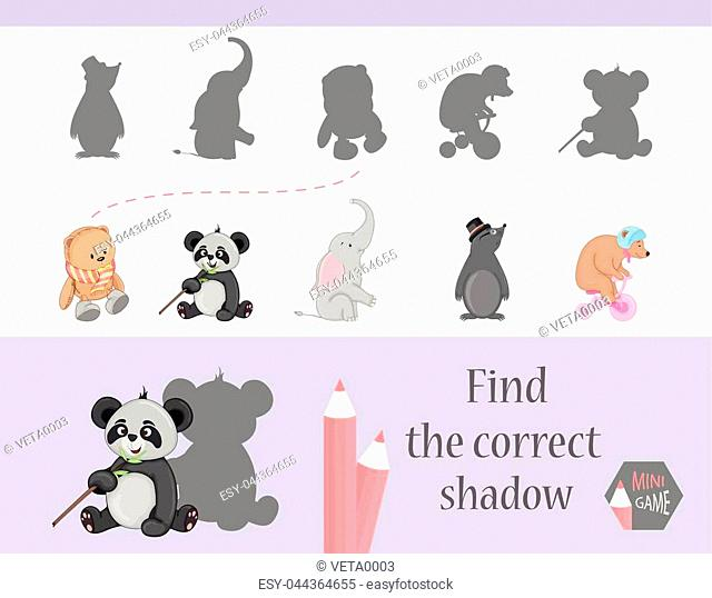 Find the correct shadow, education game for children. Cute Cartoon animals and Nature. vector illustration. gift, elephant, bear, mole