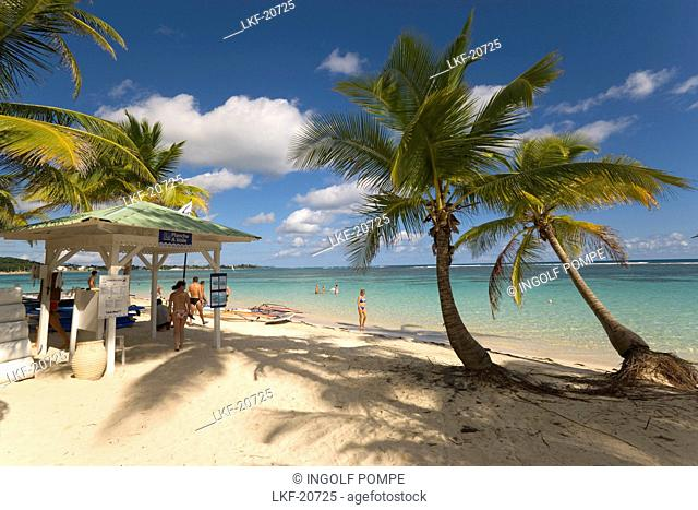 Beach hut on Caravelle Beach, Club Med, Grande-Terre, Guadeloupe, Caribbean Sea, America