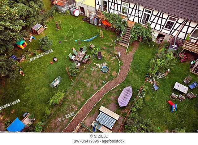 view in a garden in Hattingen, Germany, North Rhine-Westphalia, Ruhr Area, Hattingen