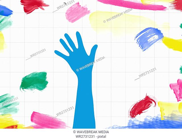Drawn hand shape on paper with color strokes