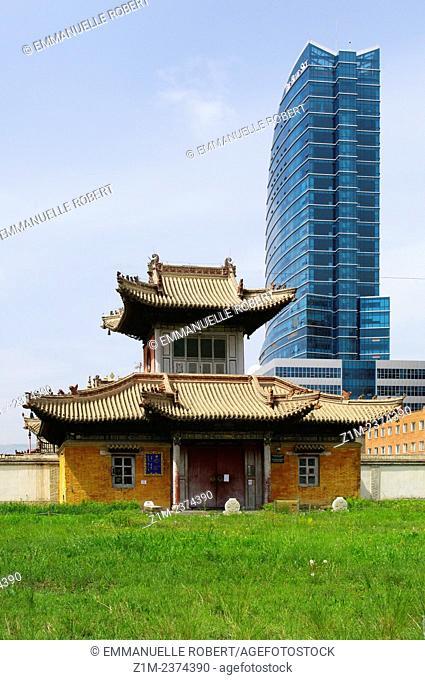 Asia, Mongolia, Ulaan Baatar,Choijin Lama Monastery and Blue Sky building