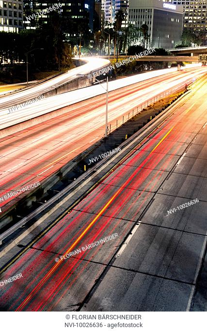Highway in Downtown Los Angeles at night, California, USA