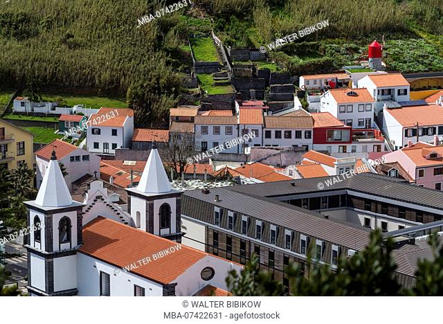Portugal, Azores, Faial Island, Horta, Igreja de Nossa Senhora das Angustias, exterior, elevated view