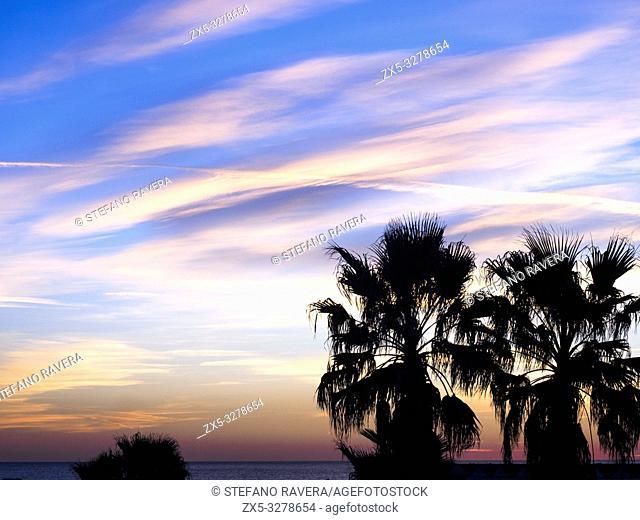 Sunset on the beach of Ostia - Rome, Italy