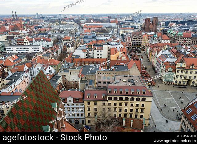 Panoramic view from Garrison Church in Old Town of Wroclaw, Poland - St Mary Magdalene church on right side