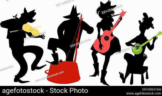Country-western music band performing, EPS 8 vector black silhouette with multi-color instruments
