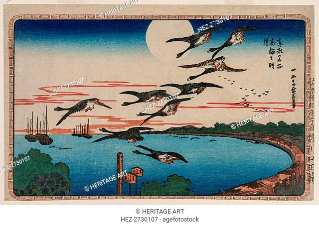 Full Moon over Takanawa, from the series Famous Places in the Eastern Capital, c. 1831. Creator: Ando Hiroshige (Japanese, 1797-1858)